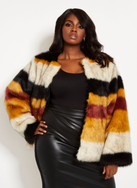 multi color stripe faux fur jacket