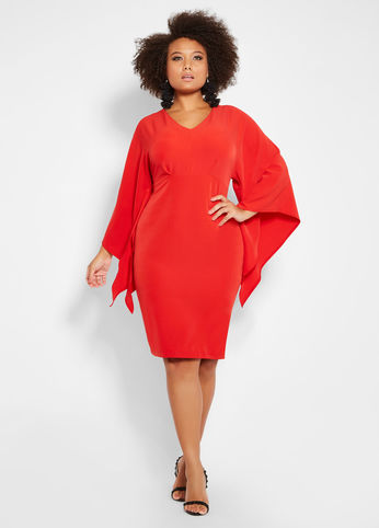 PLUS SIZE V NECK DRAMA SLEEVE RED DRESS