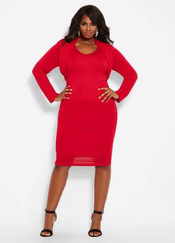 FAUX SHRUG RUCHED SIDE RED DRESS