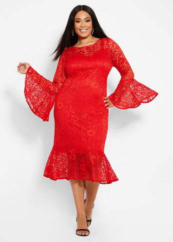 plus size lace flounce hem dress in red