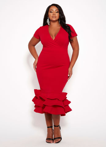 PLUS SIZE SURPLICE RUFFLE HEM DRESS