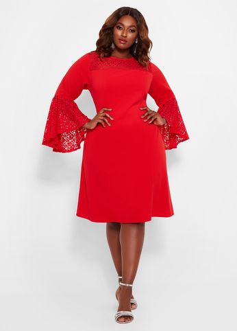 Plus Size Lace Bell Sleeves Red Dress