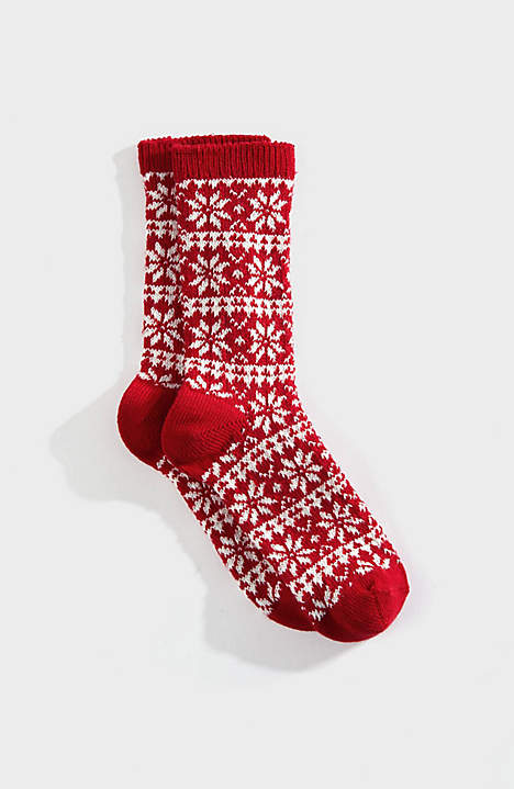 Jacquard Snowflake Crew Socks