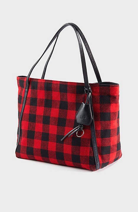 Black and Red Buffalo Check Tote Bag