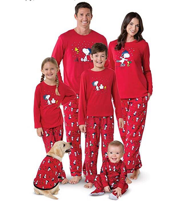 PajamaGram Family Pajamas Matching Sets - Snoopy/Woodstock, Red