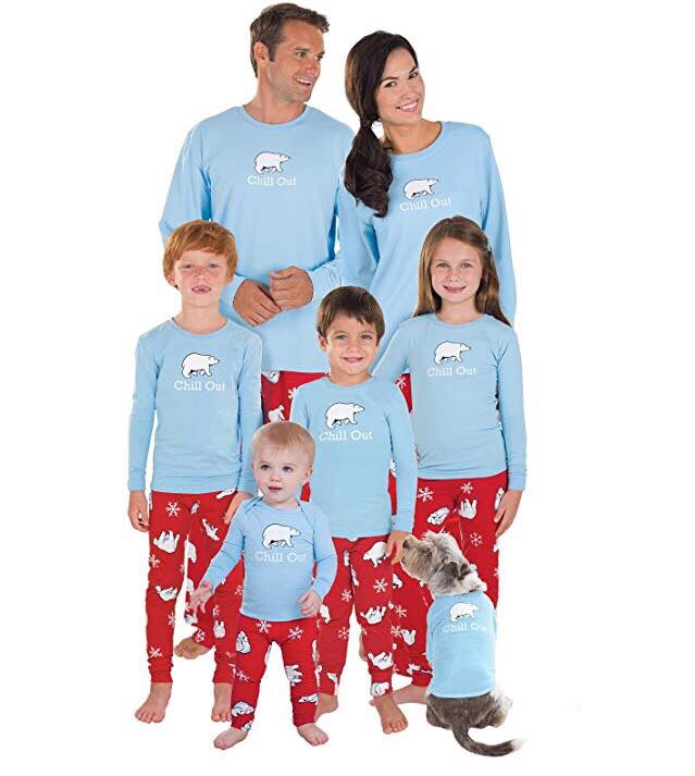 PajamaGram Family Pajamas Chill Out - Family Christmas Pajamas Set, Blue/Red