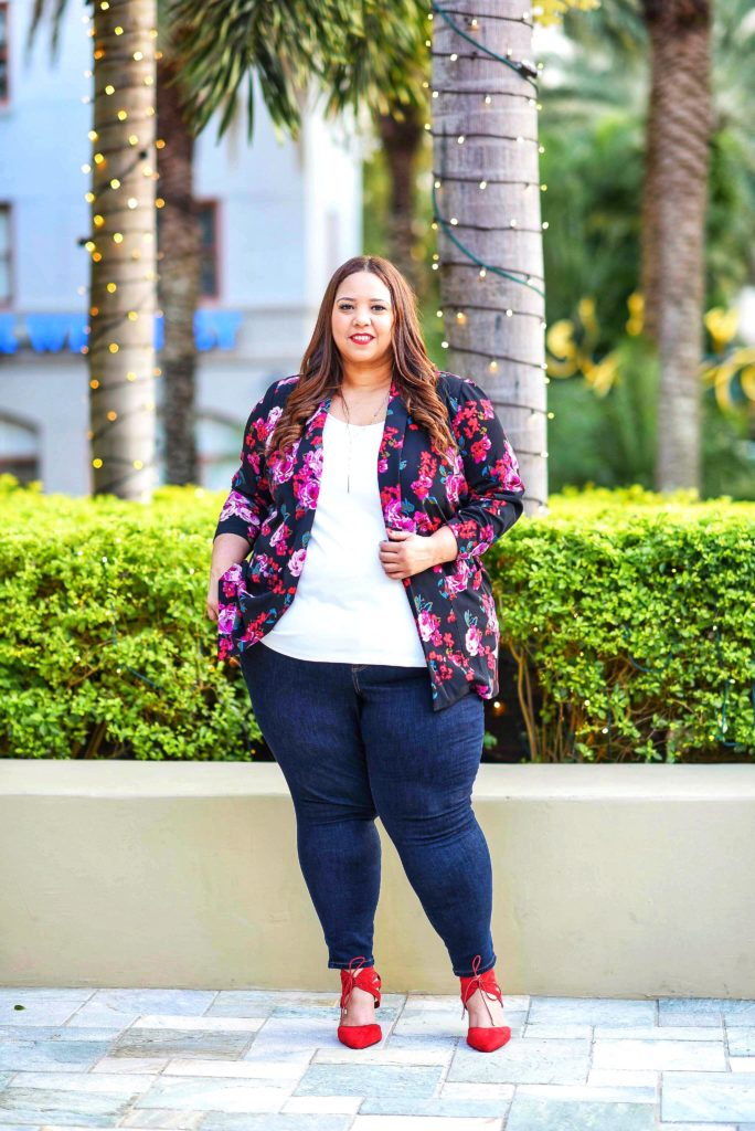 Plus Size Floral Jacket