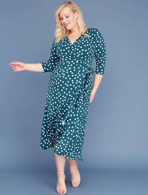 Plus Size 3/4 Sleeve Matte Jersey Wrap Dress Green Polka Dots