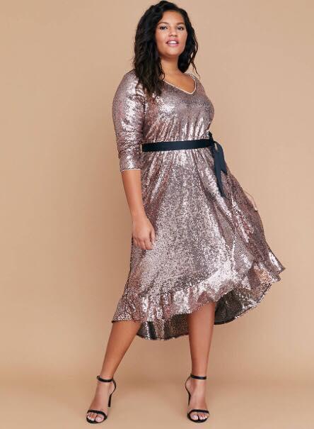 Sequin Fit & Flare Faux Wrap Dress