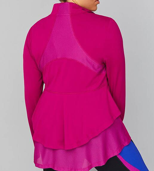 Plus Size LIVI Wicking Active Jacket - Ruffle & Mesh back