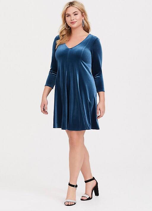 Plus Size Teal Velvet Fluted Dress