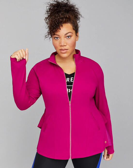 Plus Size LIVI Wicking Active Jacket - Ruffle & Mesh