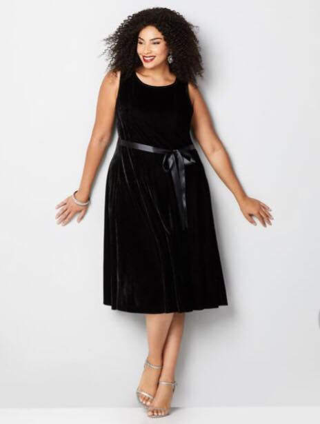 black plus size velvet fit and flare dress