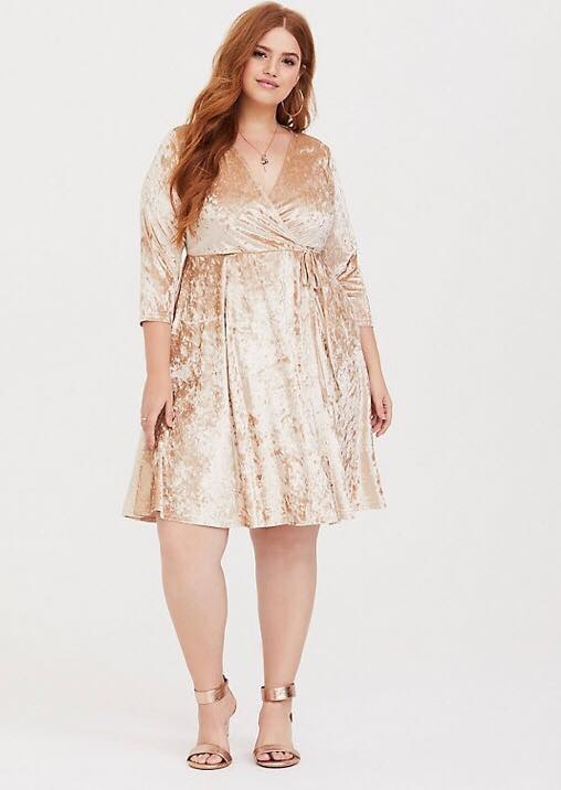 Plus Size Champagne Velvet Tie Wrap Dress