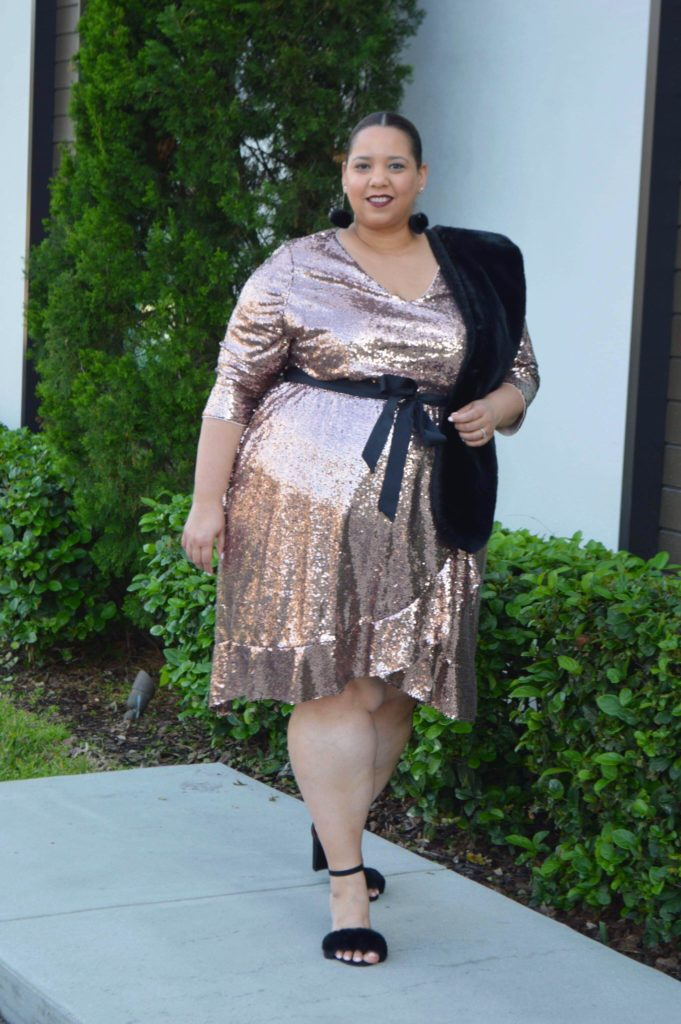 plus size rose gold sequin dress