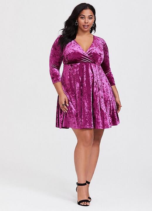 Plus Size Berry Velvet Surplice Dress