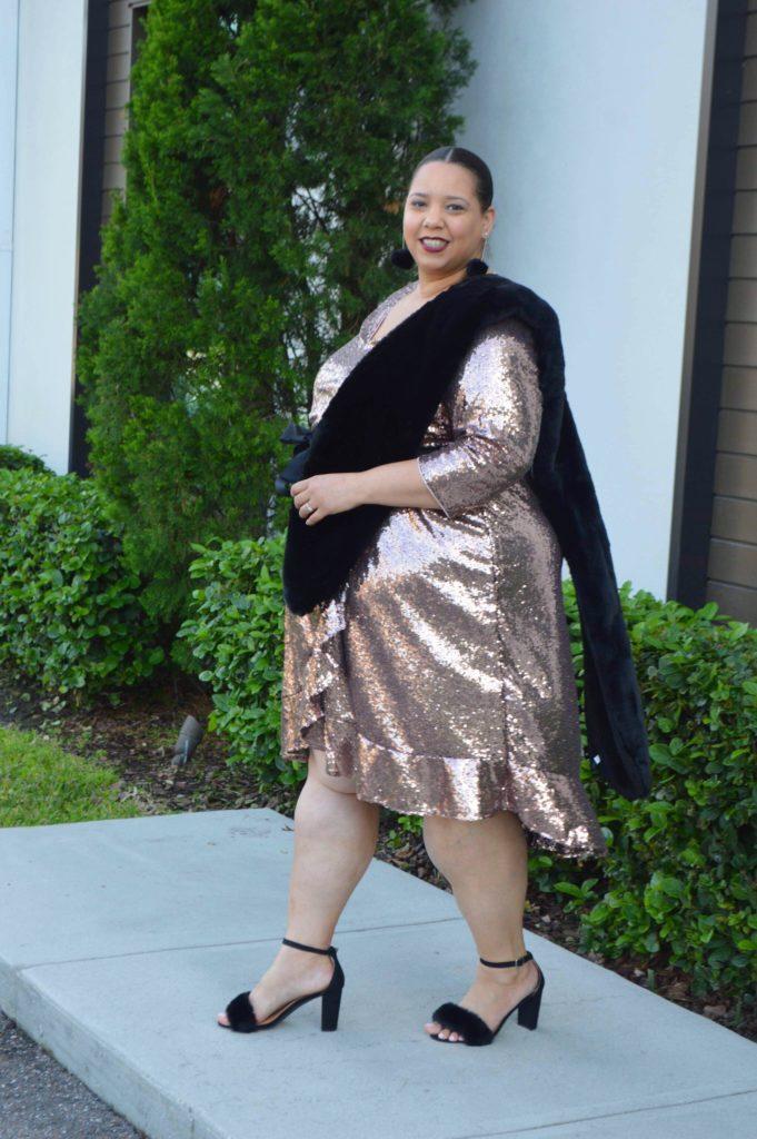 blogger farrah estrella wearing a rose gold sequin dress