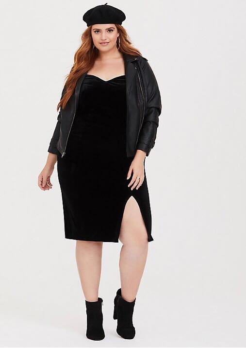 plus size black velvet slip dress