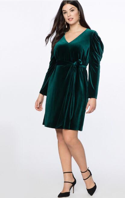 Draped Puff Sleeve Velvet Dress