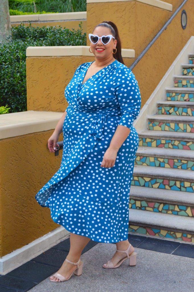 plus size turquoise blue wrap dress