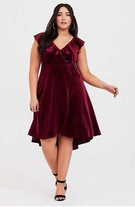 plus size burgundy velvet ruffle wrap dress