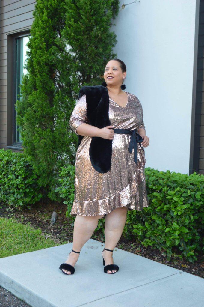 rose gold plus size sequin dress