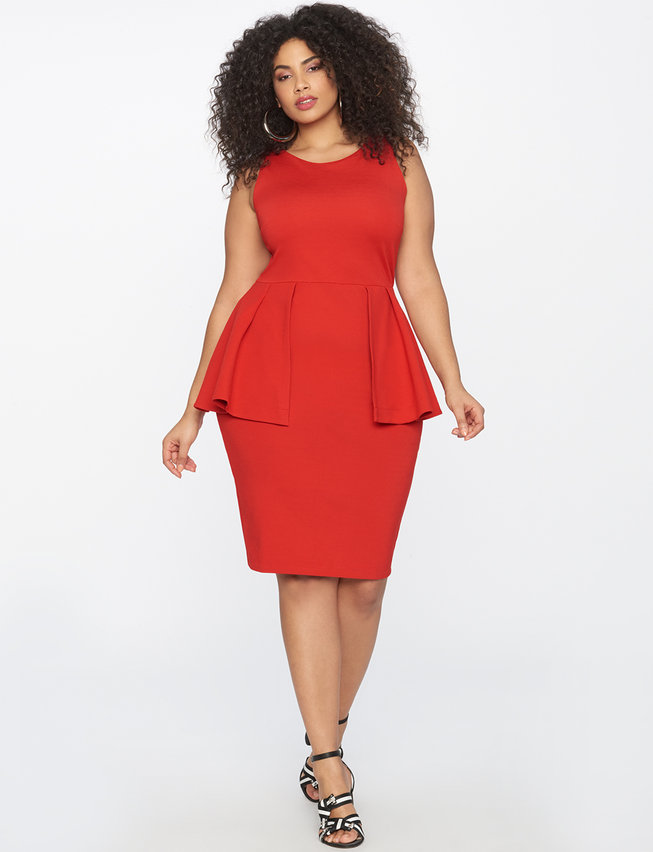 red plus size sleeveless peplum sheath dress