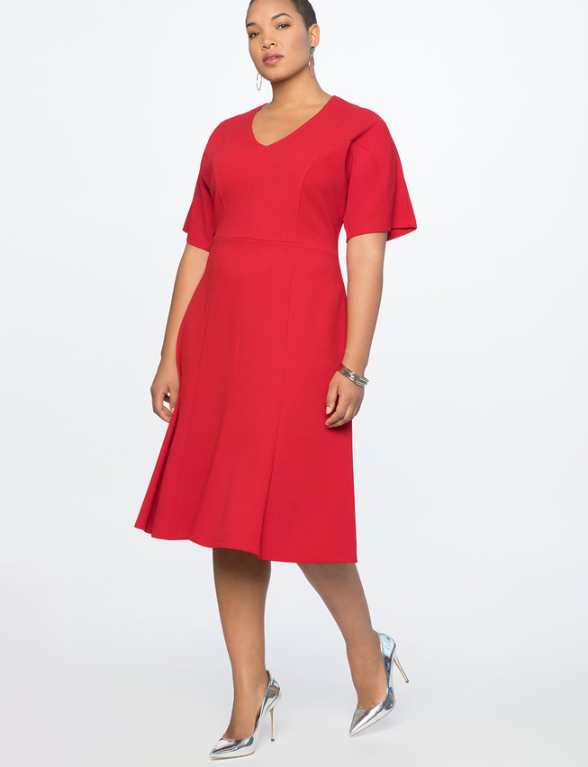 red plus size kimono sleeve dress