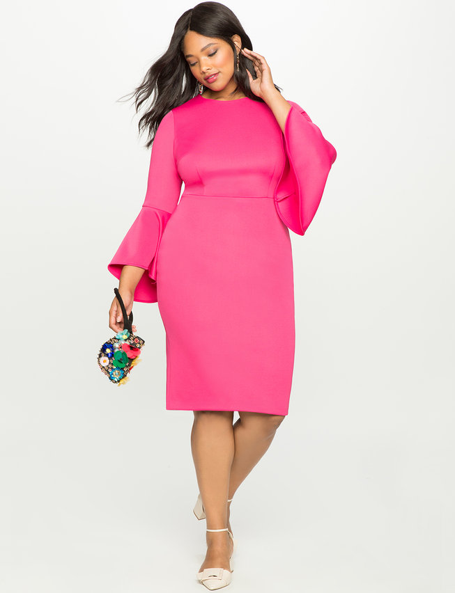 plus size pink flare sleeve scuba dress