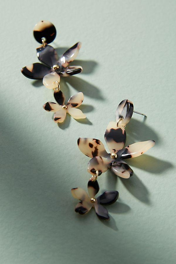 tortoise flower drop earrings