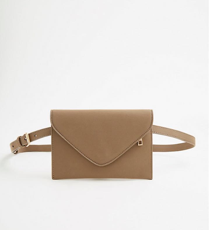 plus size taupe faux leather belt bag