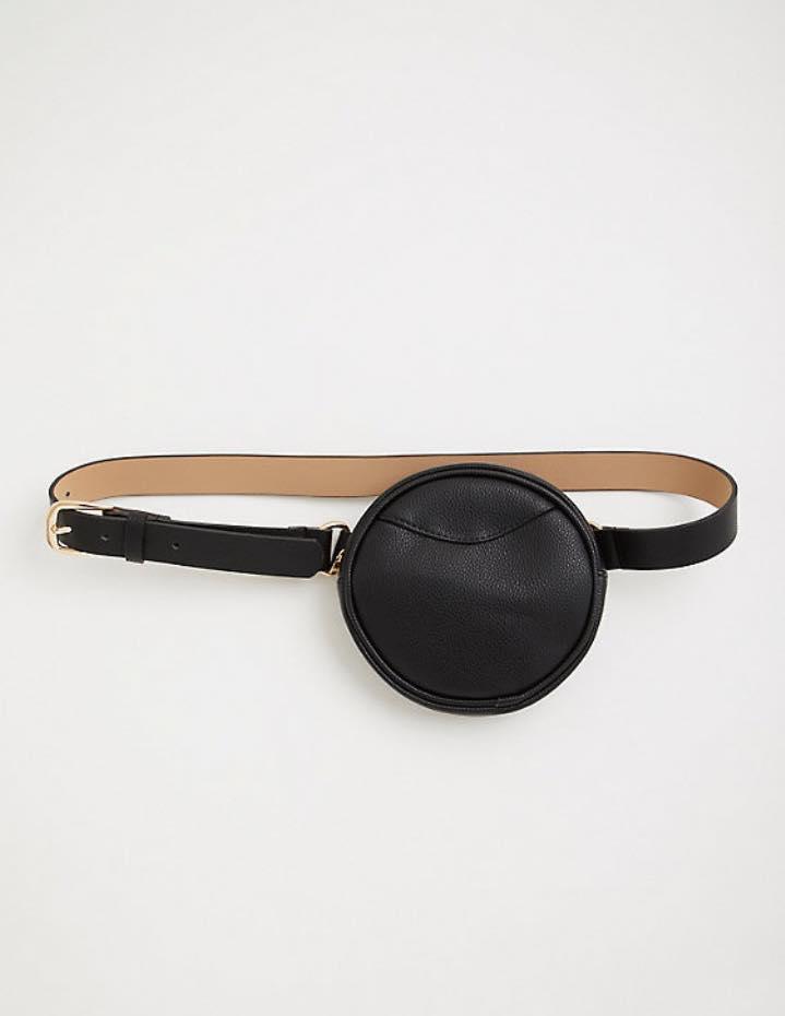plus size jet black circle belt bag