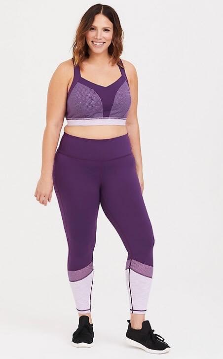 purple mesh plus size activewear set