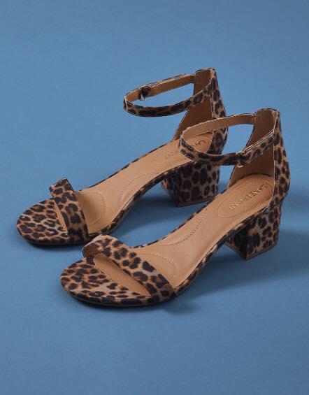 leopard print ankle strap heels