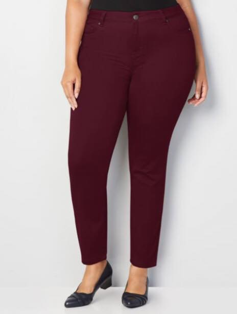 plus size burgundy jeans
