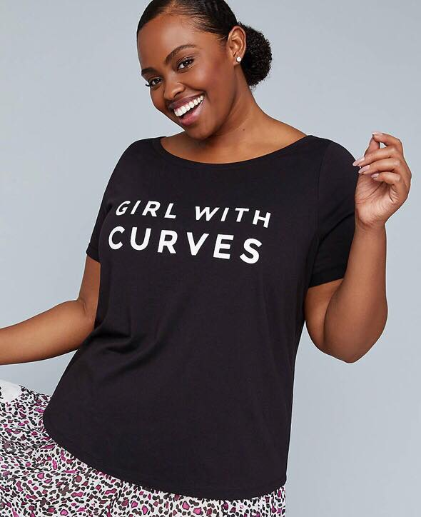 girl with curves graphic tee