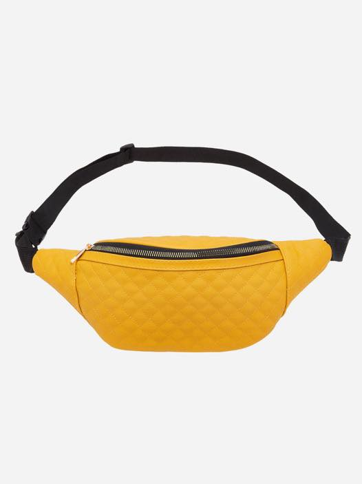 Yellow Plus Size Quilted Belt Bag