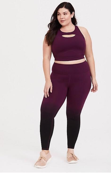 burgundy dip dye plus size activewear