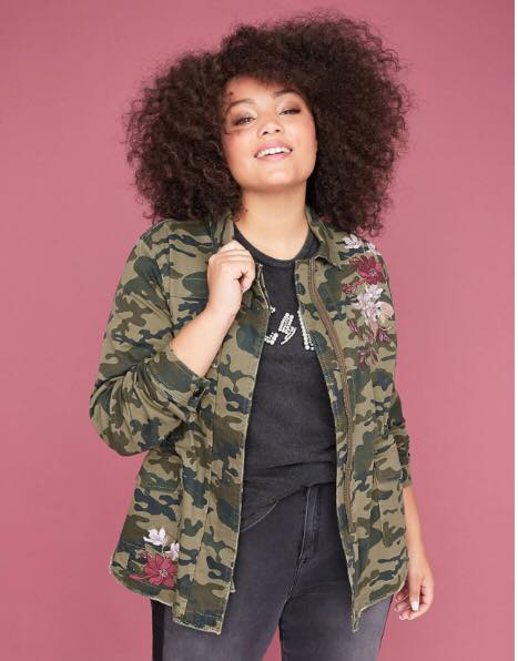 Floral Embroidered Camo Twill Jacket