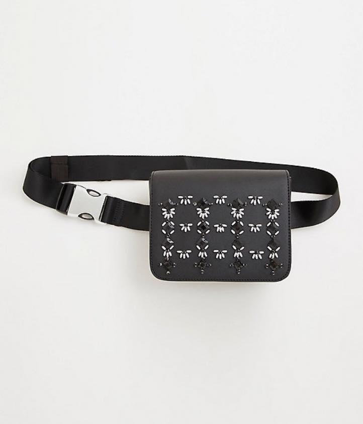 plus size black embellished belt bag
