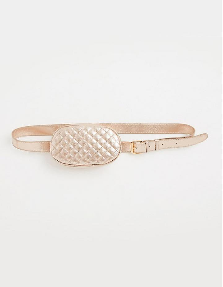 plus size rose gold metallic quilted belt bag