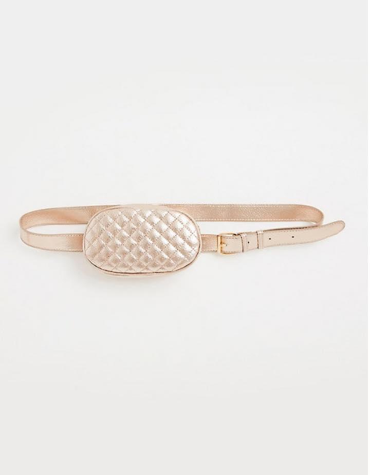 plus size rose gold metallic quilted belt bag