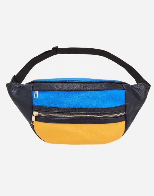 plus size color block belt bag