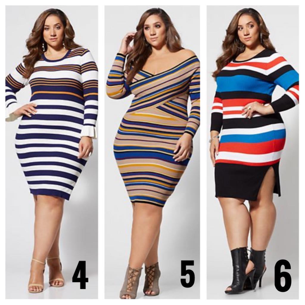 plus size striped sweater dresses