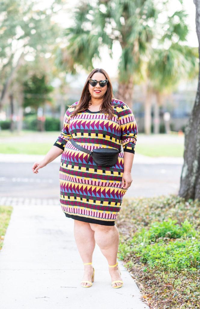 tampa fashion blogger farrah estrella in a sweater dress
