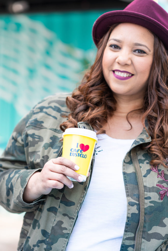 fashion blogger farrah estrella drinking cafe bustelo