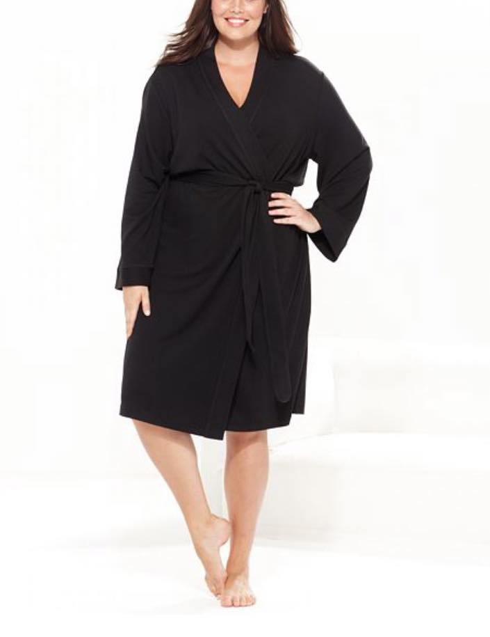 black plus size french terry kimono robe