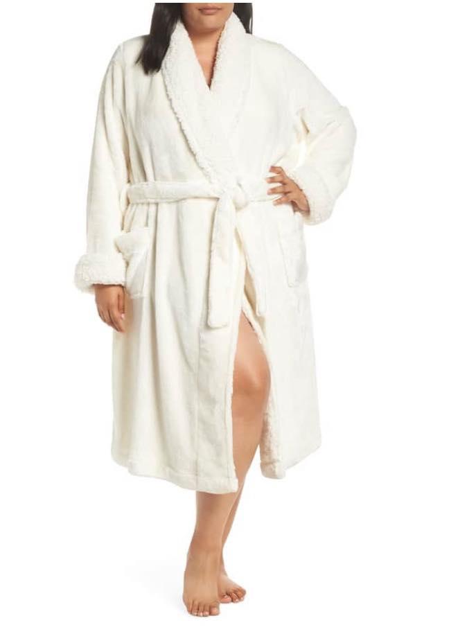white plus size robe