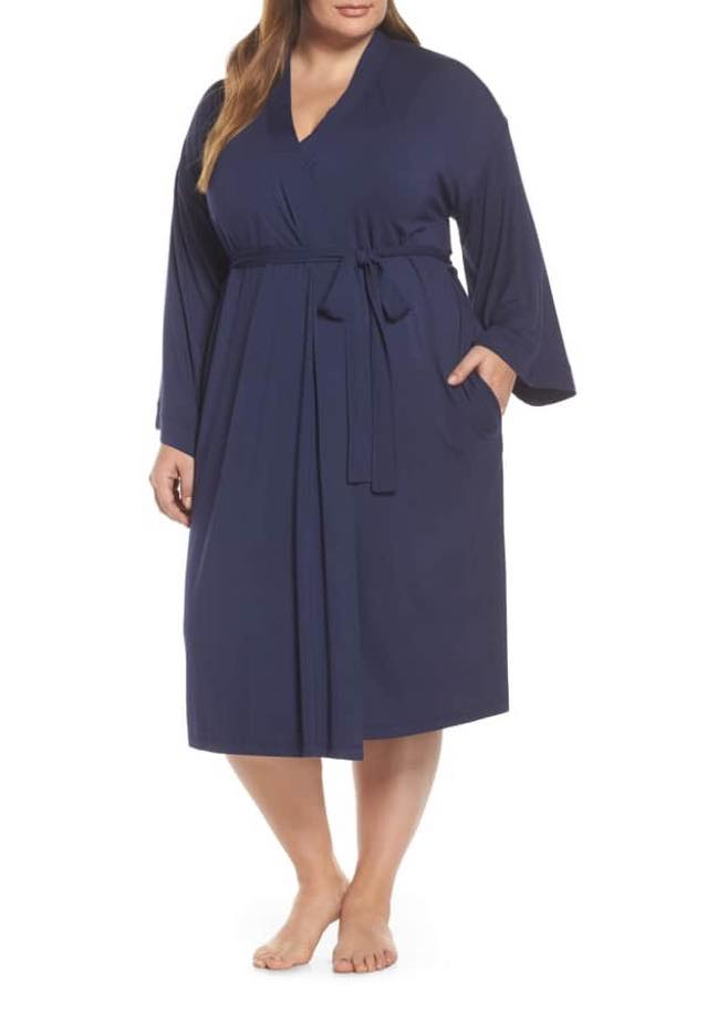 navy plus size robe