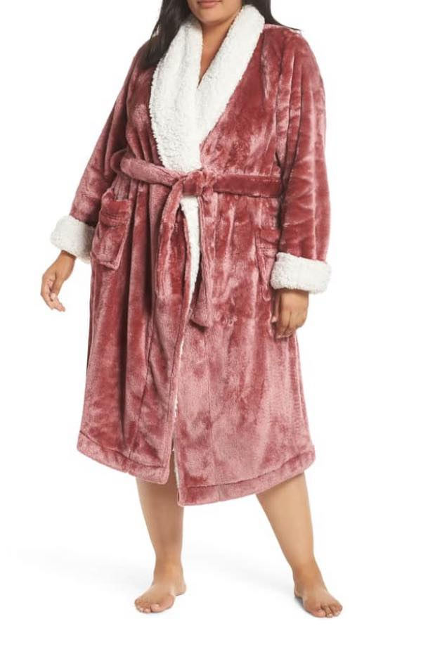 pink frosted plush plus size robe